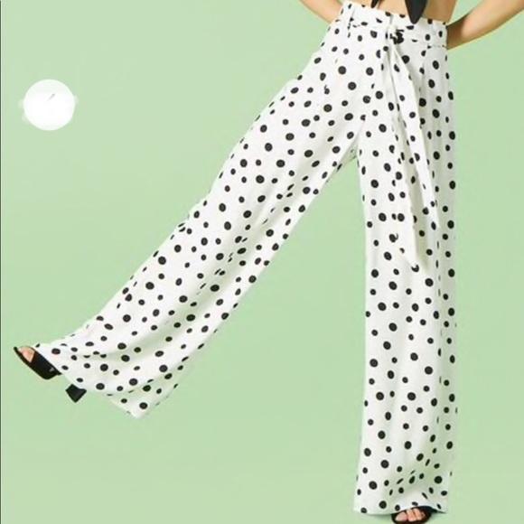 Forever 21 flare super high waist polka dot pants